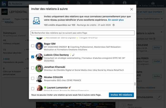 invite relations follow linkedin page