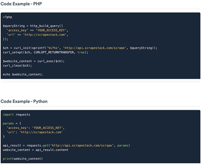 ejemplo de código de scrapestack