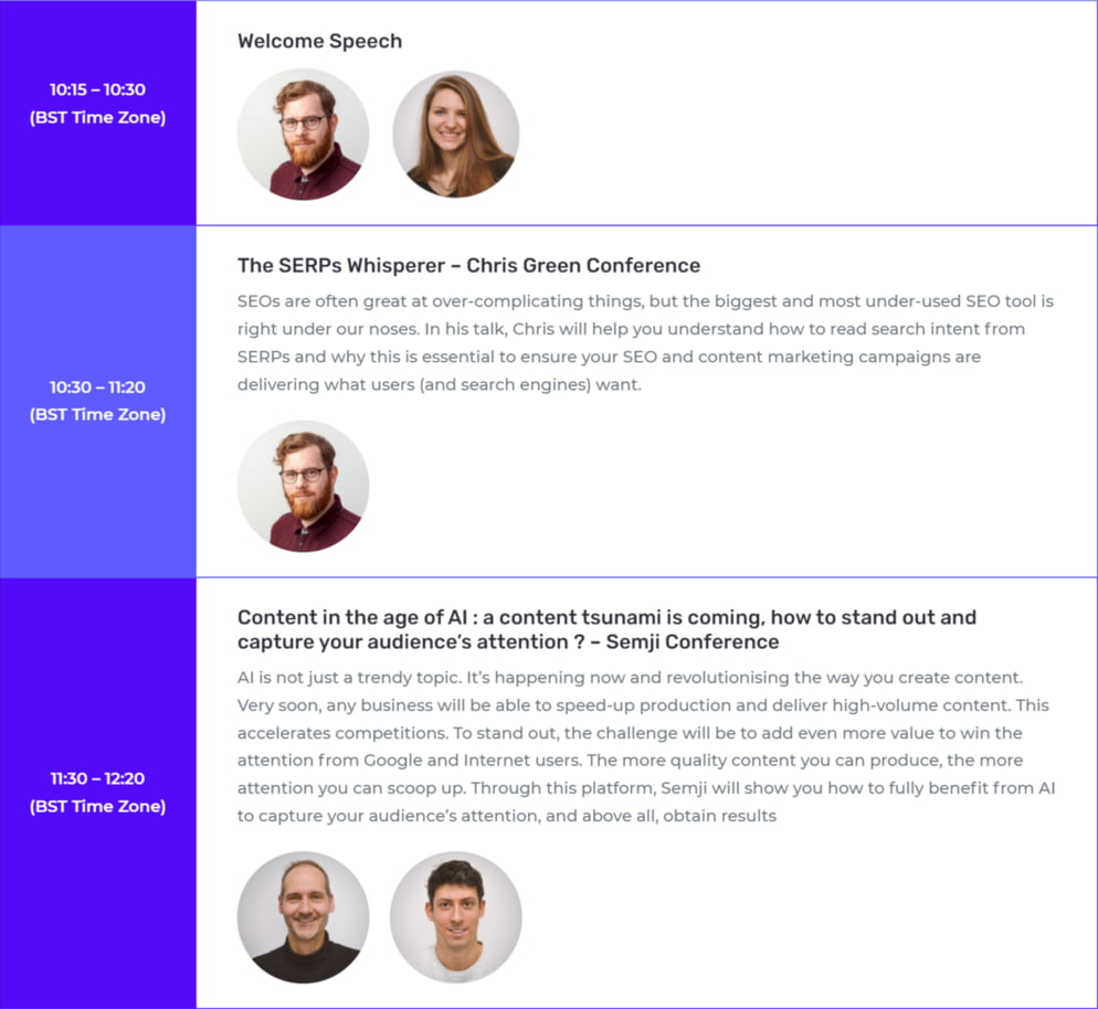 Overview of SEO SQUARE's conference program