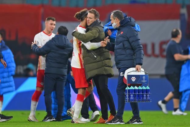 Julian Nagelsmann, l'entraîneur du RB Leipzig, s'est montré satisfait en fin de rencontre.  (FrankPeters/Witters)