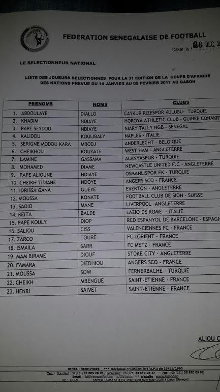 CAN 2017 : Sénégal : la liste des 23 Lions pour la CAN sans surprise !