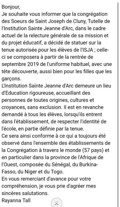 Scandale à Dakar : L'institution Jeanne d'Arc de Dakar interdit aux élèves voilées de rentrer dans l'Etablissement ( Preuve )