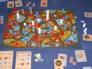 Exemple de partie à quatre joueurs.
