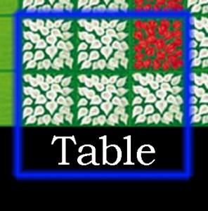 Le joueur bleu va poser sa carte. Il recouvre au moins une case de table (ici, trois). Il recevra cinq fleurs blanches et une rouge. (s'il avait recouvert des bleues, il les aurait reçu aussi.)