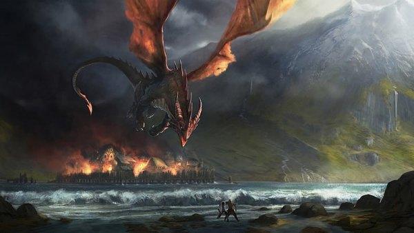Les dragons de Tolkien Smaug attaquant Esgaroth
