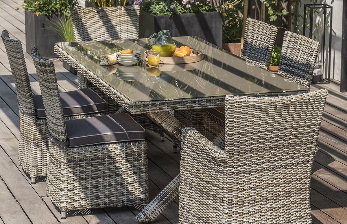 ensemble table et chaises de jardin pour 6 personnes en resine tressee dcb garden bali