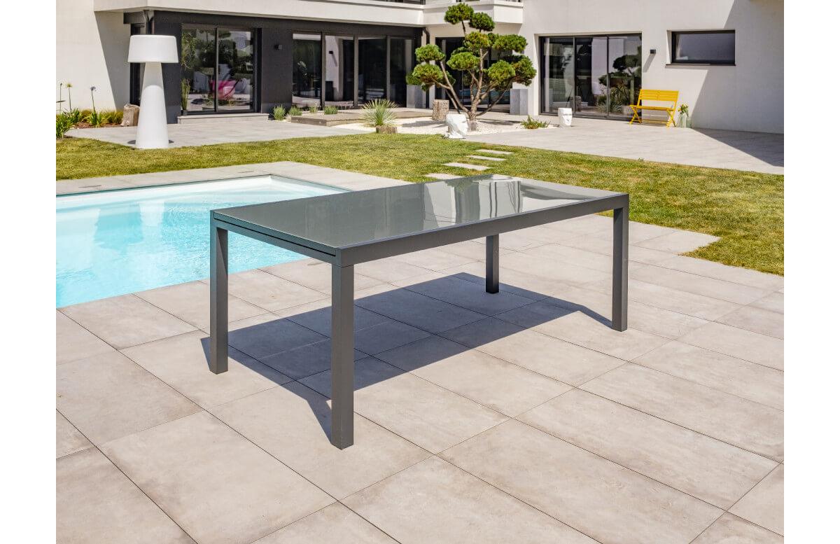 table salon de jardin extensible en alu verre pour 12 personnes dcb garden tolede gris anthracite