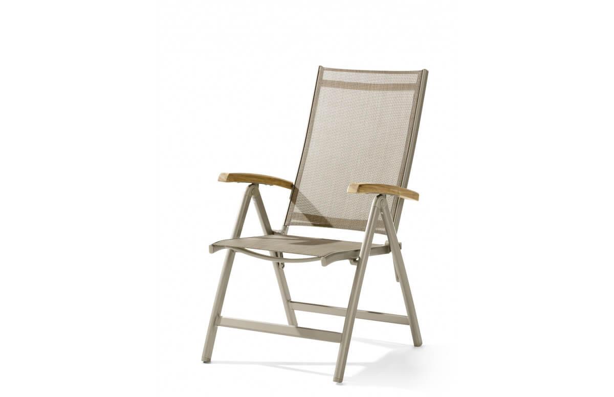 grand fauteuil salon de jardin pliant inclinable aluminium teck certifie cadiz sieger