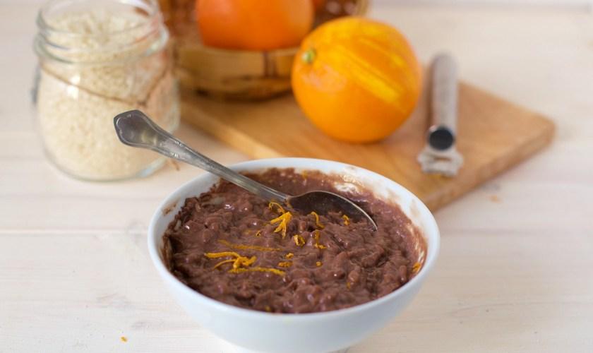 Risolatte al cacao e arancia