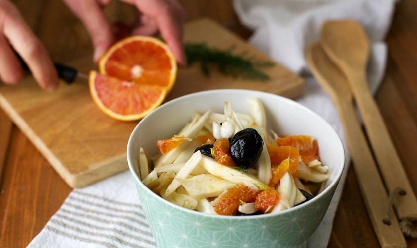 Insalata di finocchi arance e olive nere
