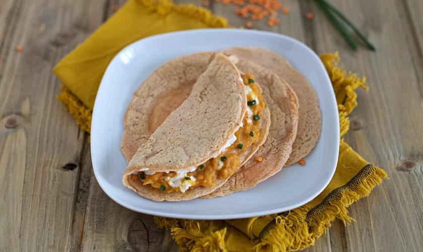 Tortillas di lenticchie rosse senza glutine