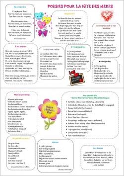 idées de poème pour la fête des mères