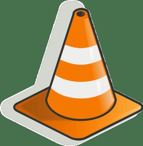 VLC Symbol ist das orange-weiße Verkehrshütchen