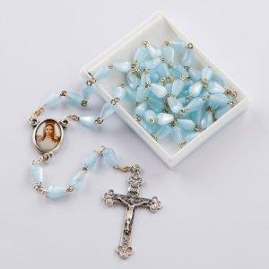 chapelet avec perles en forme de goutte-bleu