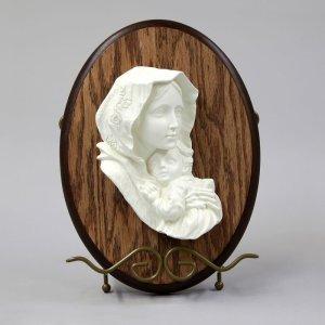 Vierge des pauvres blanc sur bois