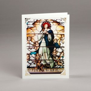 card with assorted photos-stained-glass window-the assumption