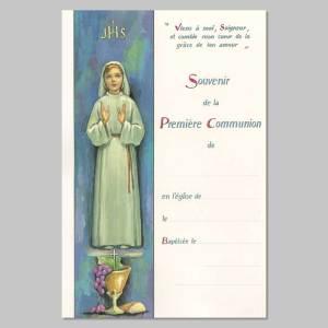 certificat de première communion - fille