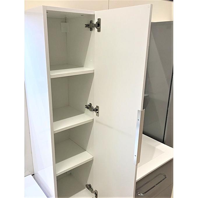 meuble salle de bain colonne l 30 x h 116 x p 30 cm blanc a suspendre garantie 3 ans