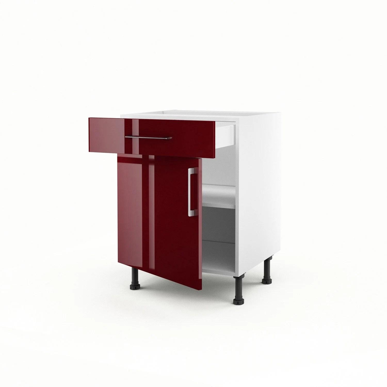 Meuble De Cuisine Bas Rouge 1 Porte 1 Tiroir Griotte H