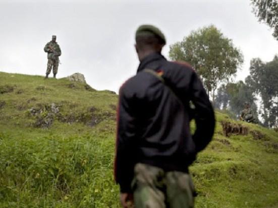 Soldats rwandais et congolais suivent une escarmouche à la frontière des deux pays où au moins un militaires des FARDC a été tué le 5 novembre 2012. © MONUSCO/Sylvain Liechti