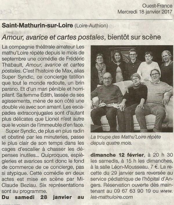 Article Ouest France du 18-01-17
