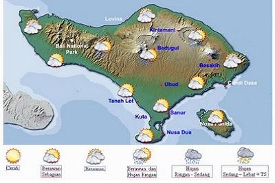 Séjour à Bali : la population, le temps, l'argent, le quotidien. Carte météo