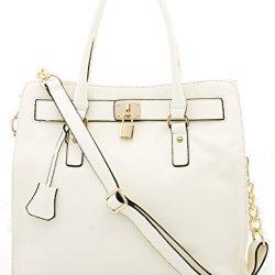 BOVARI-sac--main-Golden-Padlock-cuir-de-veau-37x30x16cm-blanc-0