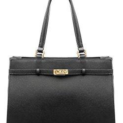 BOVARI-sac--main-Jackie-cuir-de-veau--imprim-saffiano-37x27x16cm-noir-0