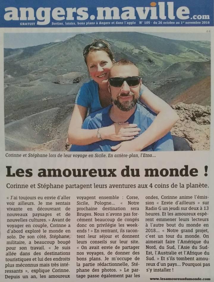 Les amoureux du monde - Angers Maville - publication du 26/10/2016
