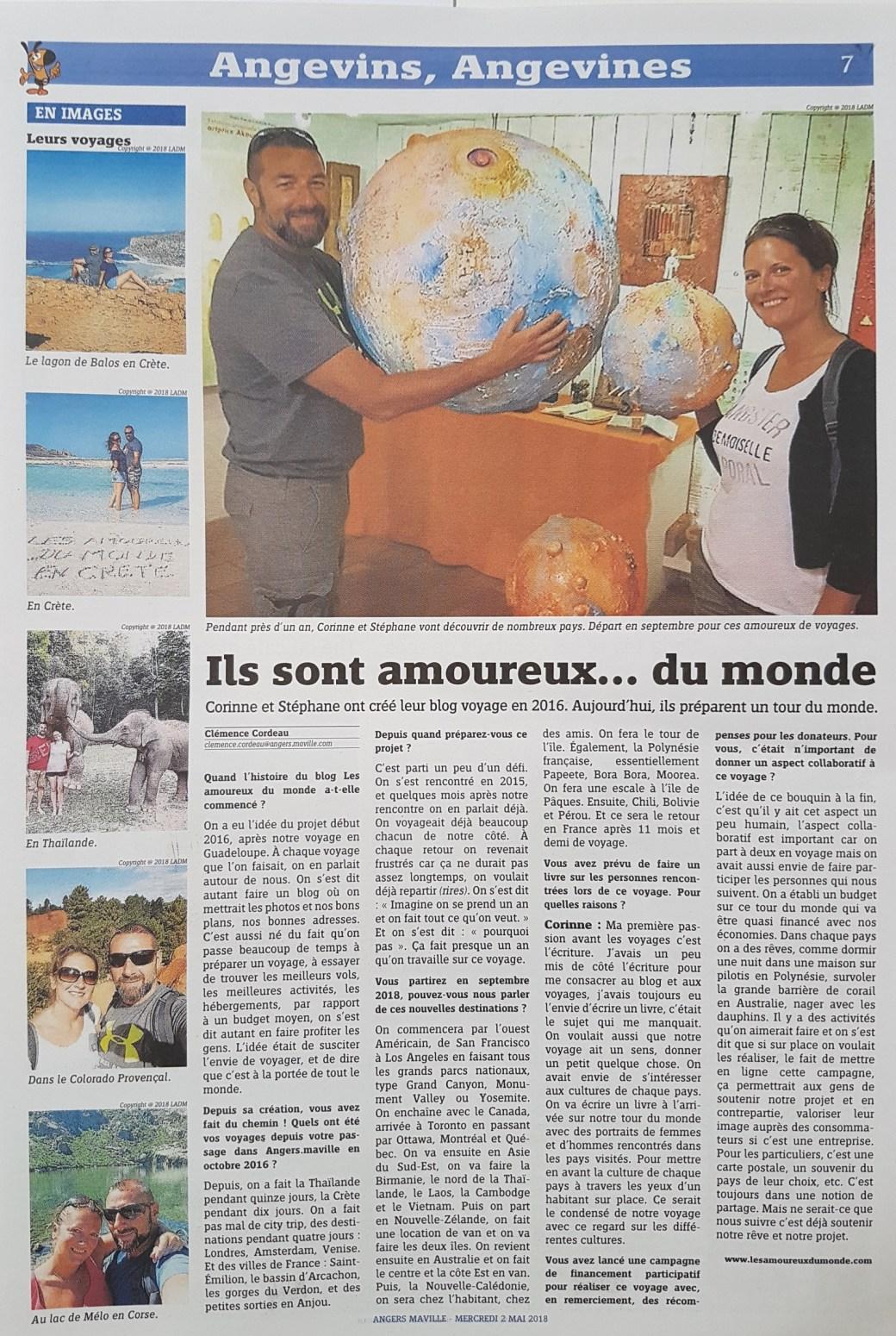 Article Angers Maville Les Amoureux du Monde