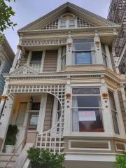 Les Painted Ladies de San Francisco avec un message pour Trump