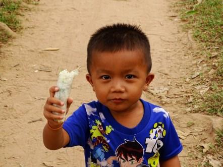 un enfant laotien sur l'île de Don det aux 4000 îles