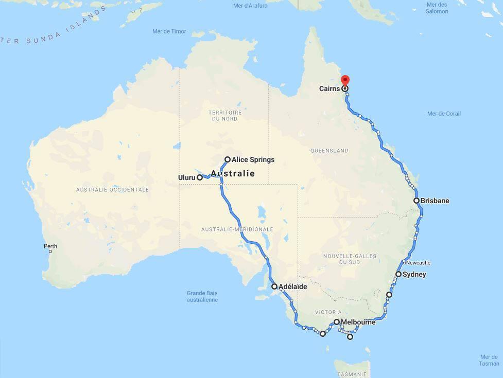 Itinéraire 2 mois en Australie en van