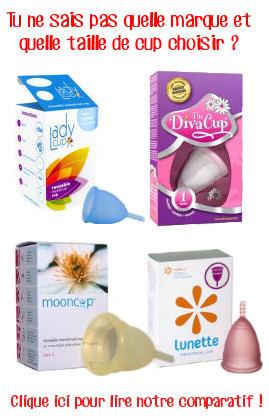 comparatif taile et marque coupe menstruelle