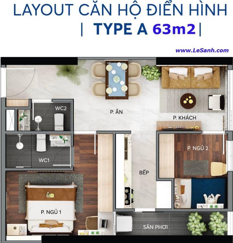 Thiết kế căn hộ Centana Thủ Thiêm căn 63m2