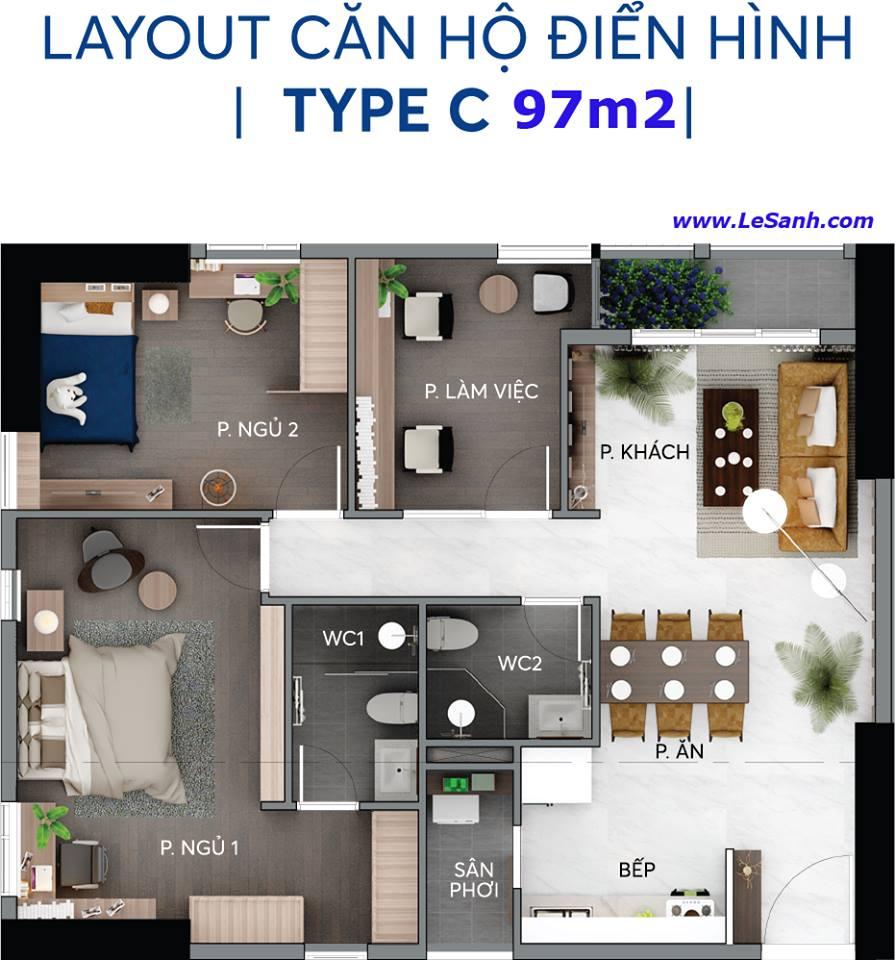 Thiết kế căn hộ Centana Thủ Thiêm căn 97m2
