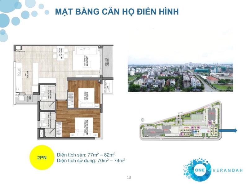 One verandah - Mặt bằng căn hộ điển hình (2PN)