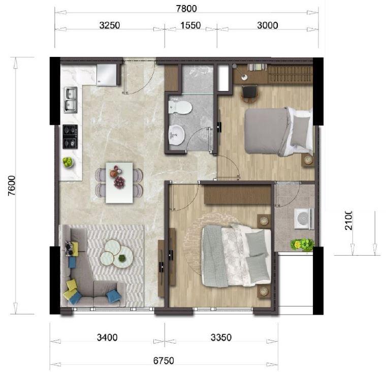 Thiết kế căn hộ Mizuki Park căn 2 PN 56.03m2