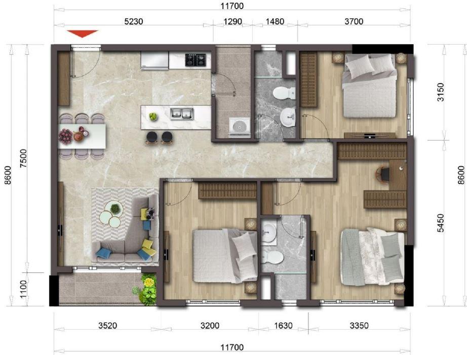 Thiết kế căn hộ Mizuki Park căn 3 PN 98.41 m2