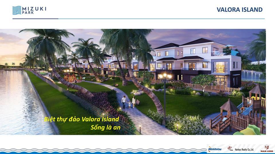 Biệt thự đảo Valora Island nằm trong khuôn viên dự án Mizuki Park rộng 37 ha