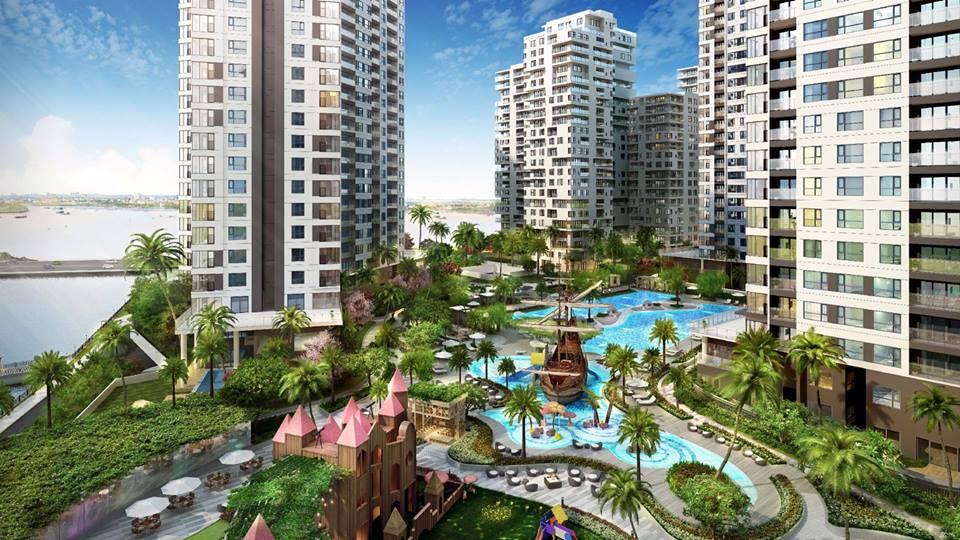 Hồ bơi theo phong cách Resort tại Đảo Kim Cương