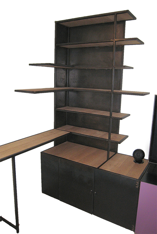 meuble bibliotheque multifonctions metal et bois les ateliers du 4