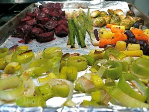 ...roasted veggies come out