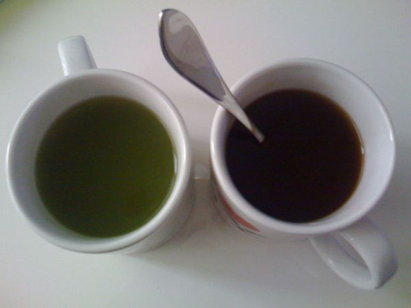 matcha and black tea