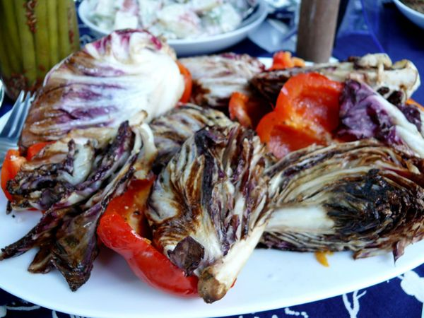 grilled radicchio and peppers
