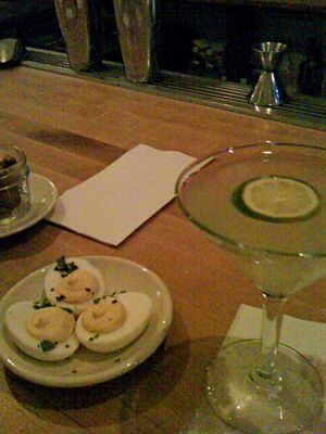 devilled eggs and a drink at the general greene
