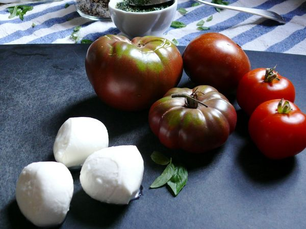 fresh bocconcini, heirloom tomatoes