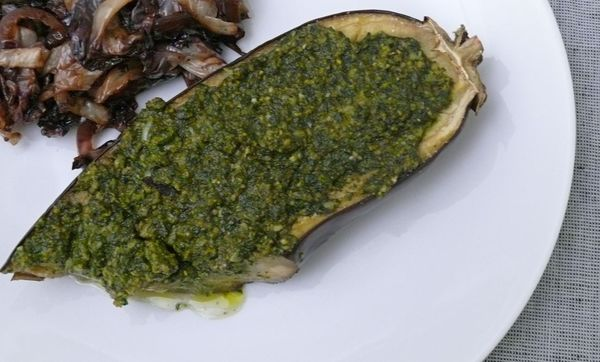broiled eggplant with pesto