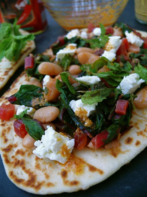 chard and bulgarian feta flatbread with paprika oil