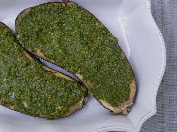 baked eggplant and pesto, pre-grill